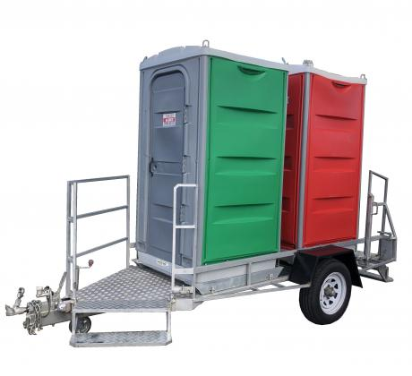 Double toilet on trailer